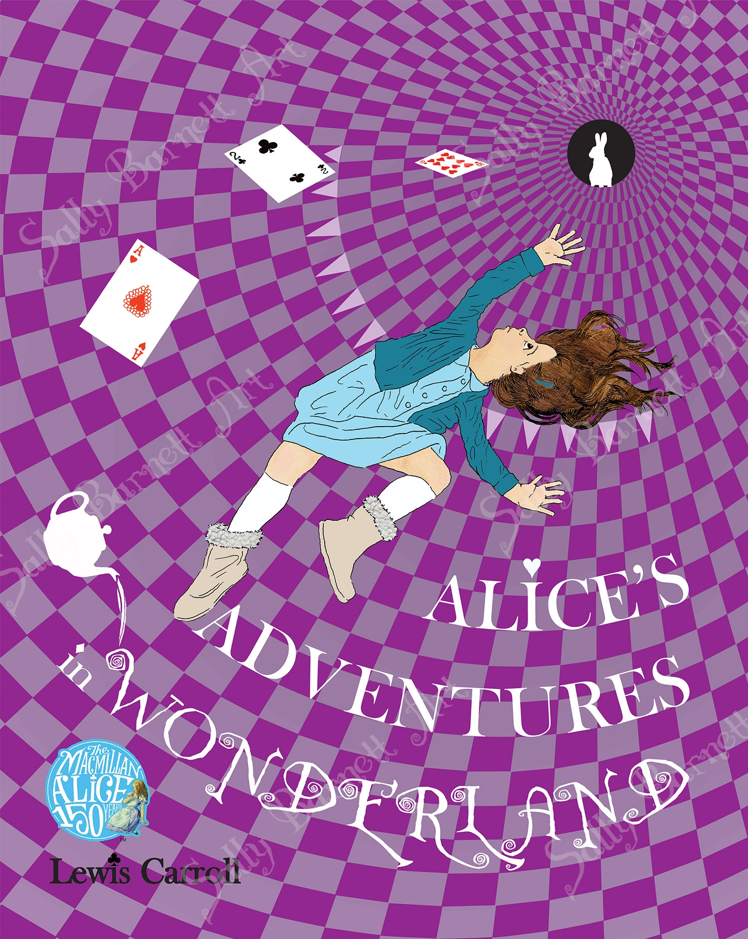 alice falling down a vortex made up of purple squares with a teapoit and rabbit waiting for her at the bottom