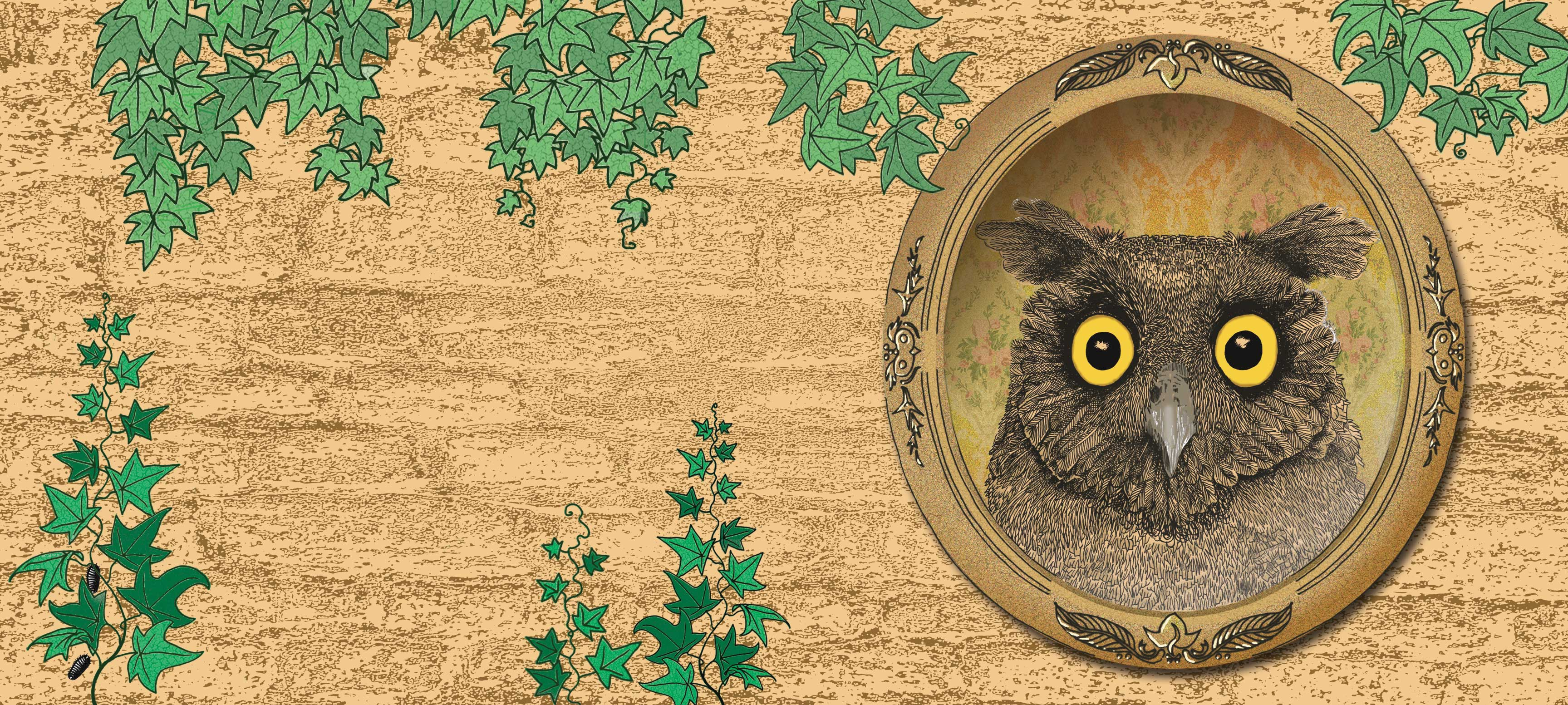 owl surprised in a mirror against a graden wall with vines