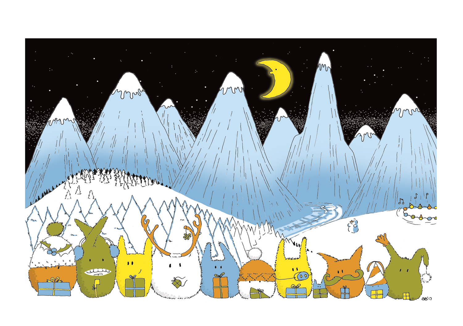 inkymotes winter holiday scene in the mountains in the snow illustrated by sally barnett