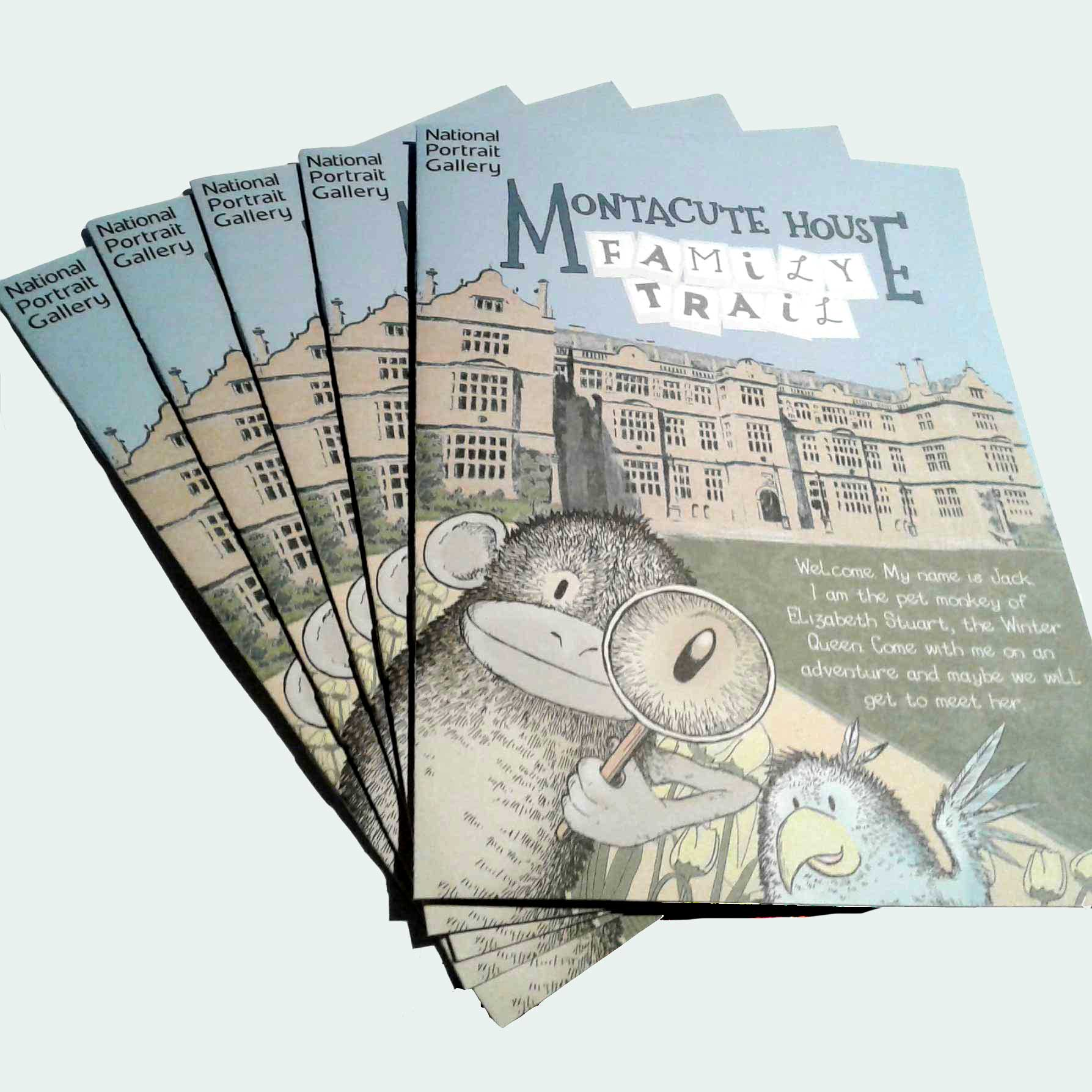 sally barnett illustration designer album cover frome bath bristol montacute house national trust family trail booklet national portrait gallery front cover with jack the monkey and the parrot in front of the house