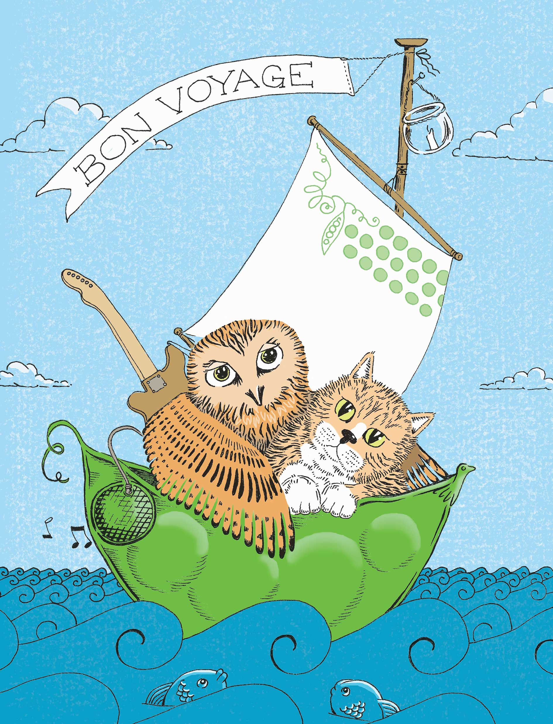 owl pussycat in pea green boat edward lear poem illustration sally barnett