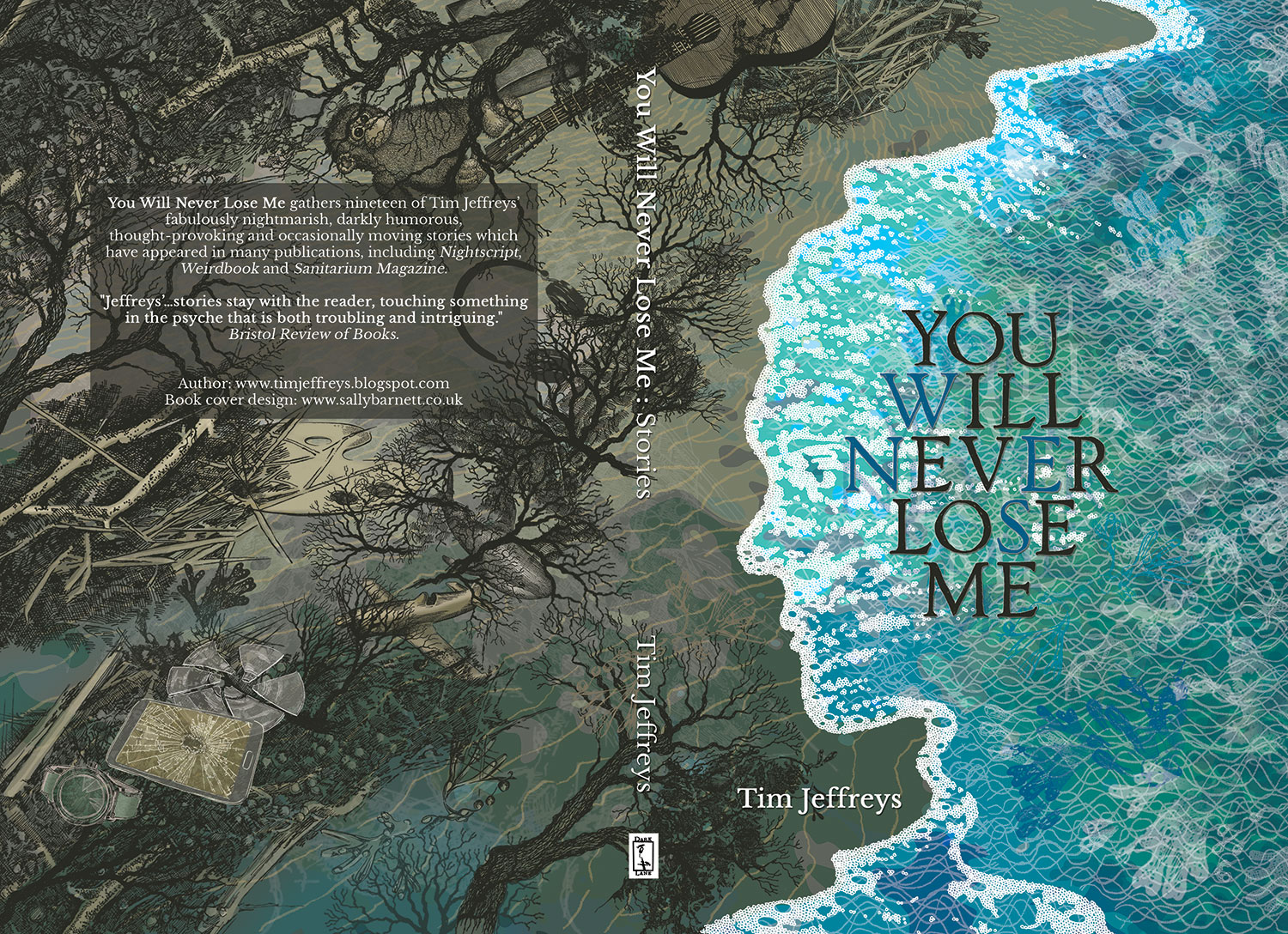 You Will Never Lose Me by Tim Jeffreys, illustration and book cover design layout by Sally Barnett illustrator frome bath bristol - face in the seashore with creatures in it and debris (watch, phone, cd, plane, shark, headphones, palette, monkey, handbag, guitar on the beach