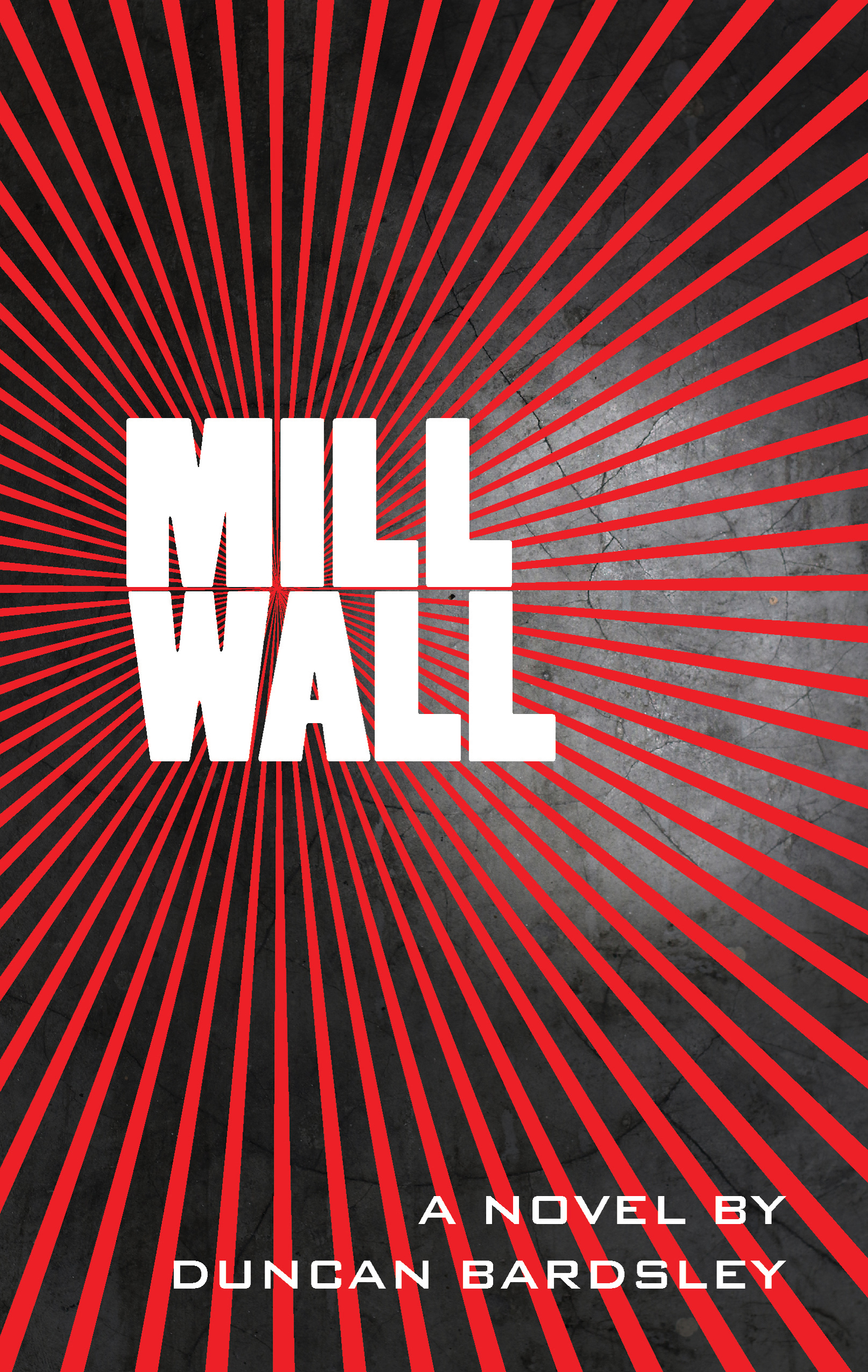 red and black sun ray affect with title of millwall in white bold font in middle