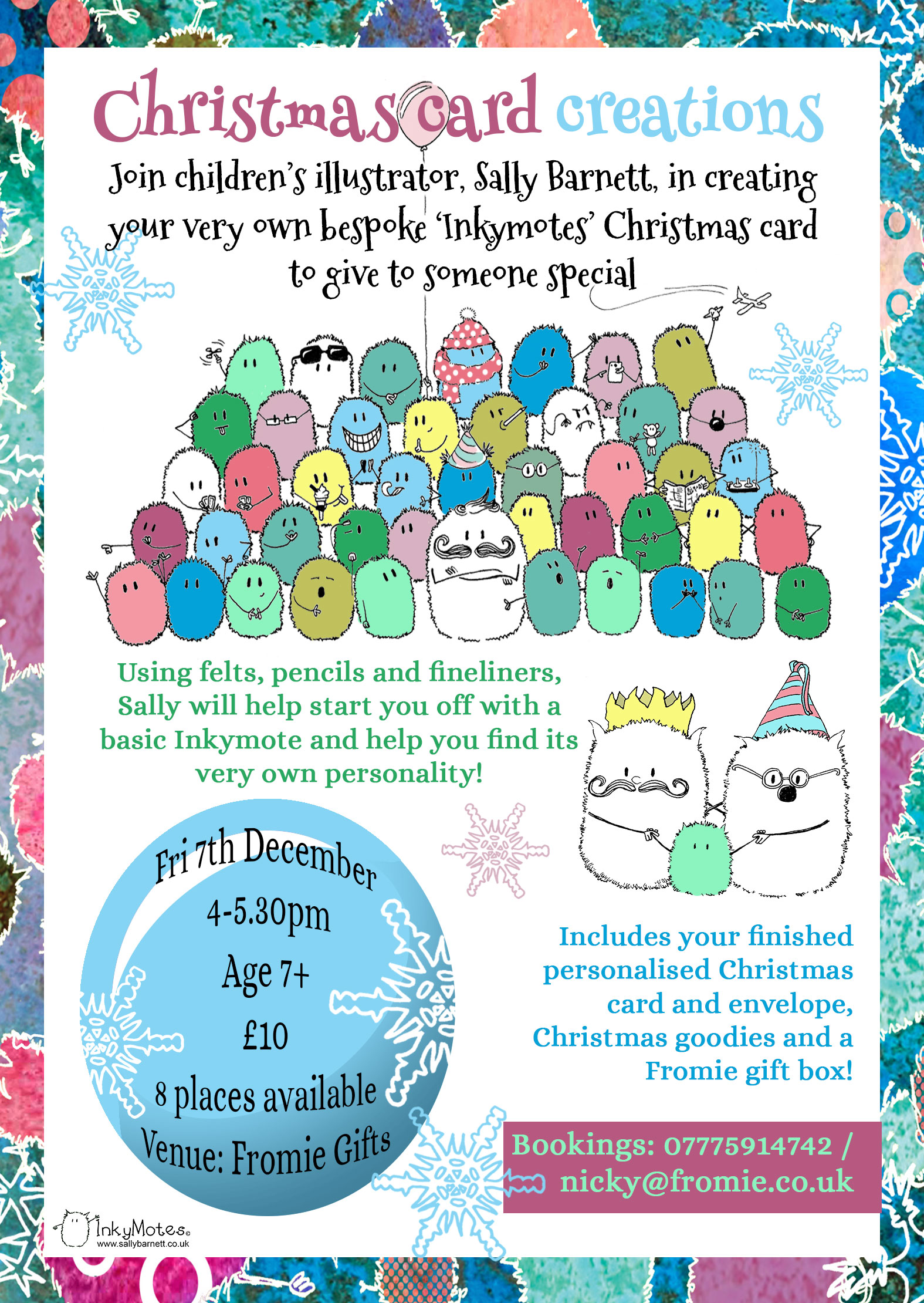 sally barnett illustration designer frome bath bristol illustration of inkymotes for illustration workshop at fromie gifts in frome