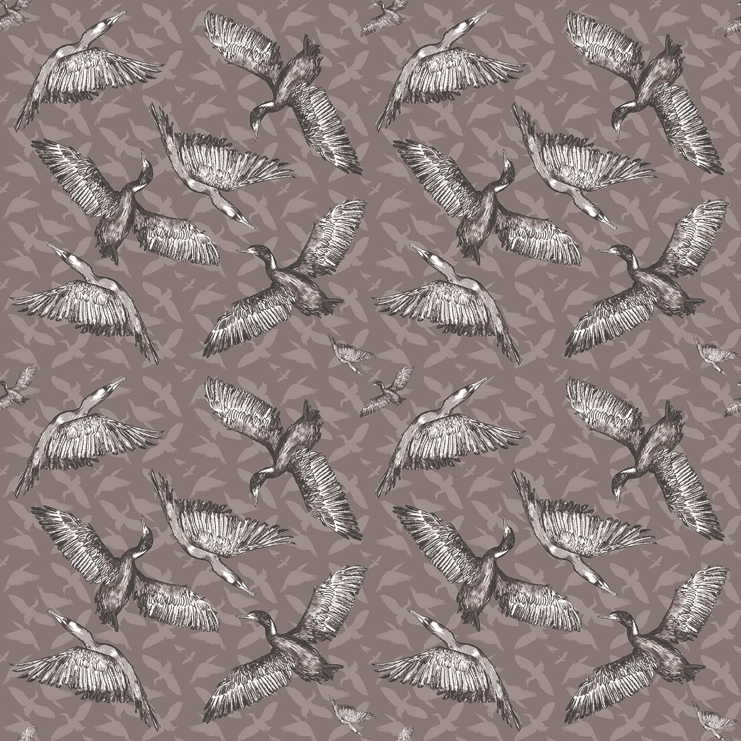 cormorants birds grey pattern textiles surface design
