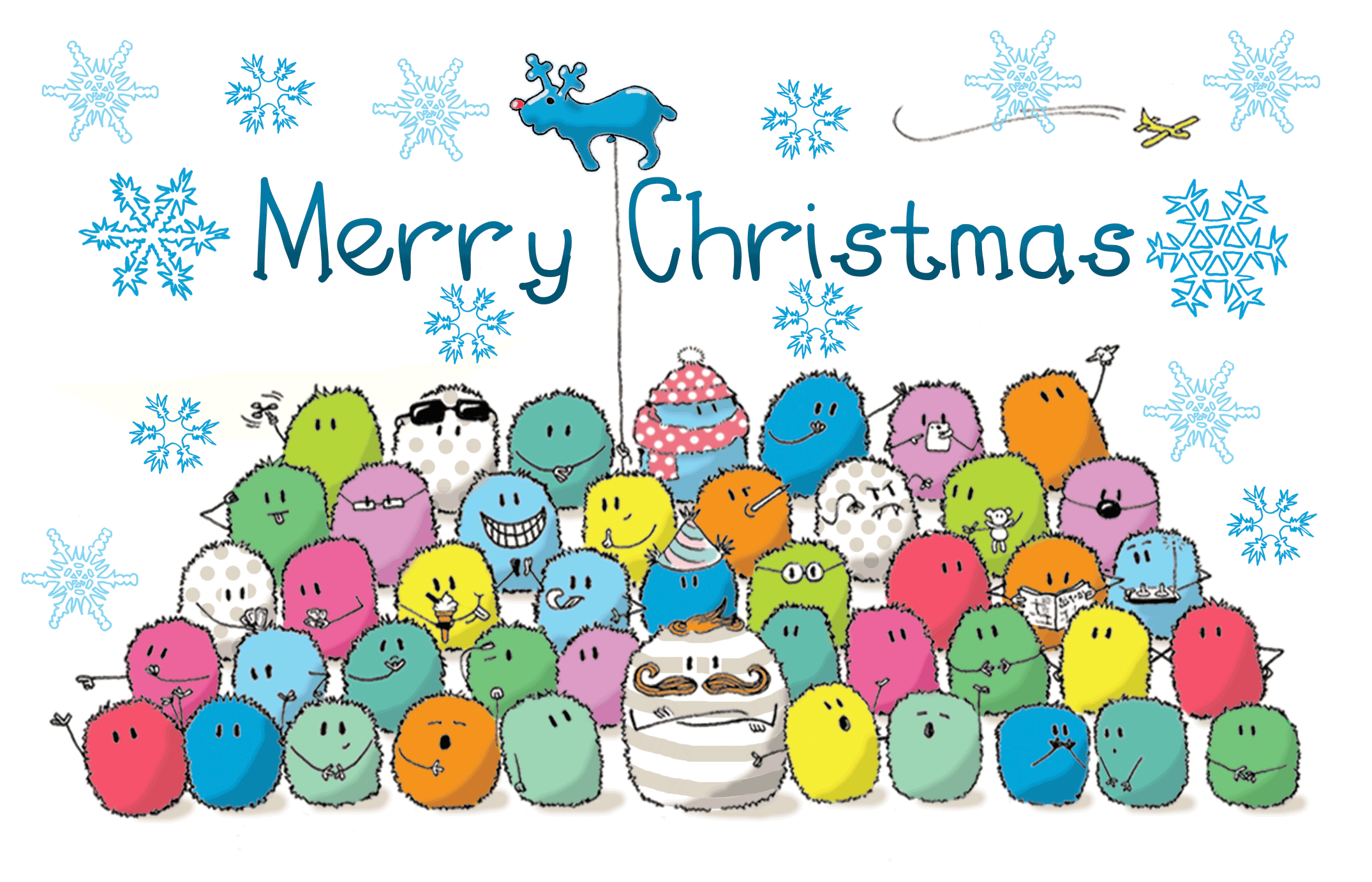 InkyMotes Christmas greetings card design - ink and digital illustration illustrated by sally barnett